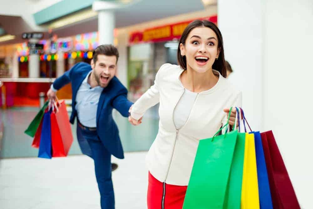 Impulsive consumers shop all they want in a mall.