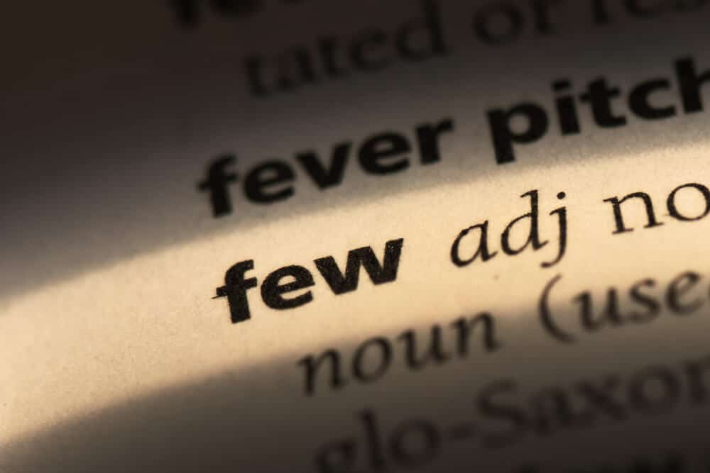 """The word """"few"""" emphasized on a dictionary."""
