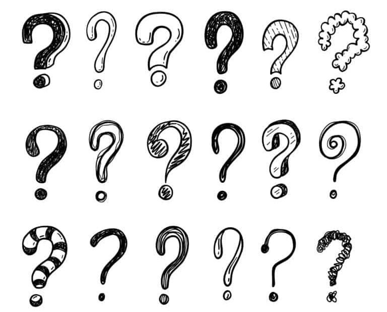 A bunch of question marks in different fonts.