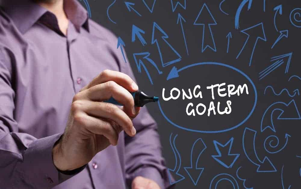 A man encircles the words Long Term Goals surrounded by arrow drawings.