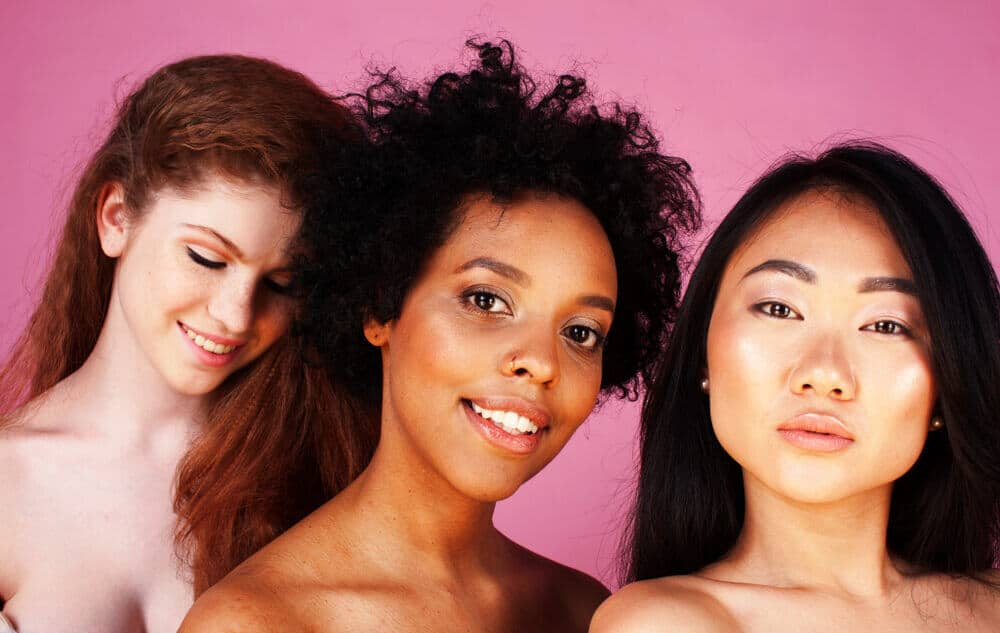 Woman of different nationalities and skin colors.