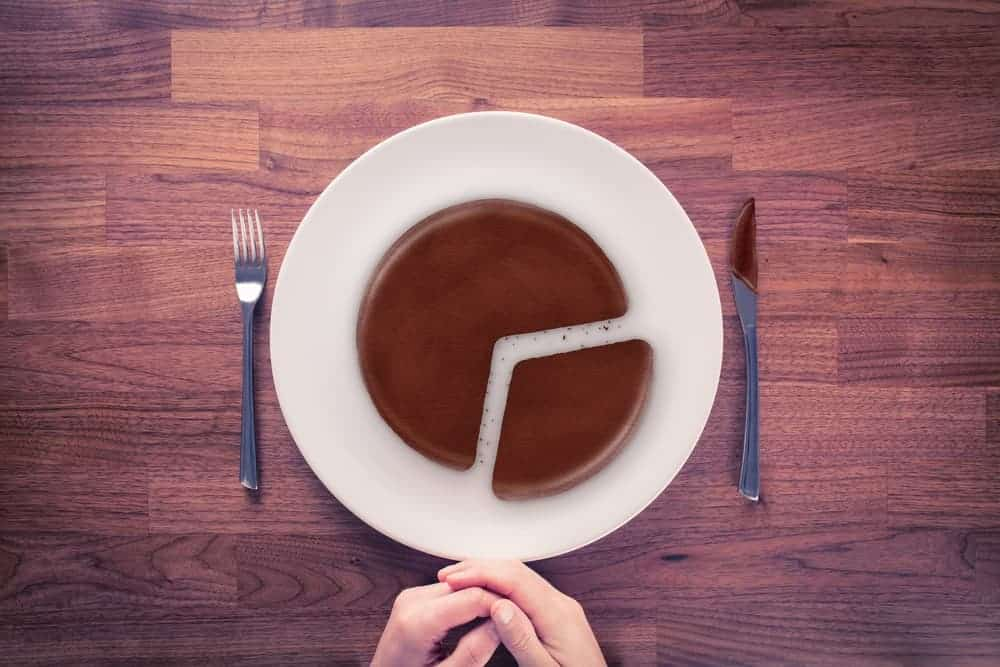 A plate of chocolate cake representing a pie chart.