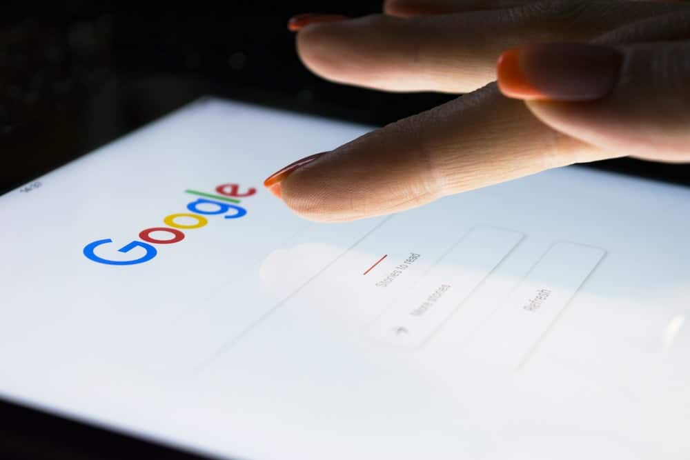 A close look at a woman searching in Google.