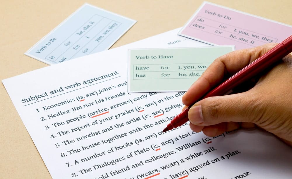 Subject and verb agreement test along with grammar cards.