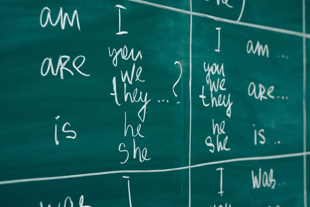Linking verbs written on a green board.