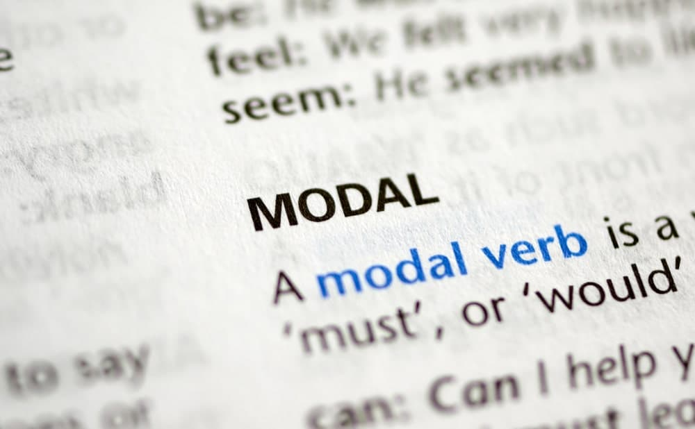 Modal verb word from a dictionary.