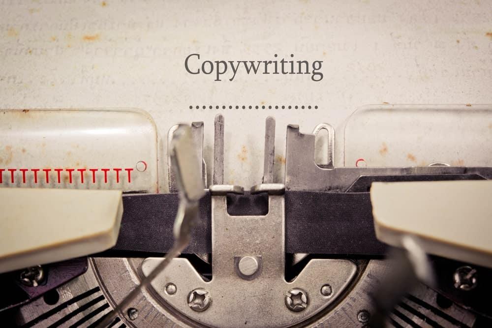 """""""Copywriting"""" written on an old typewriter."""