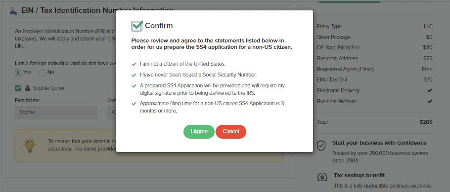 Confirmation box
