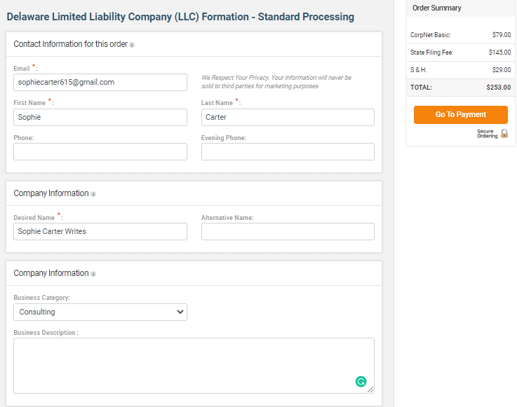 Forming an LLC with CorpNet