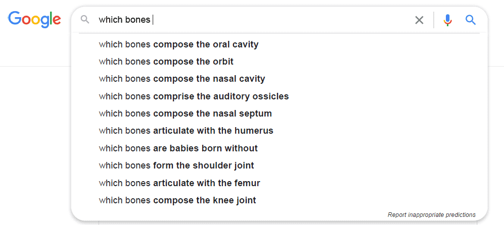 Google's suggested topics