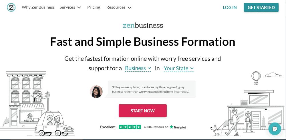 Screenshot of ZebBusiness Get Started webpage.