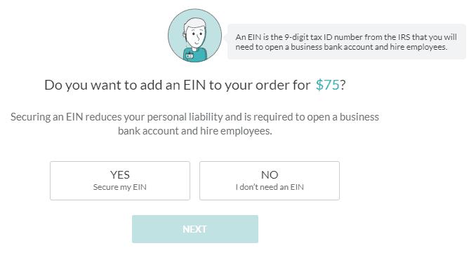Screenshot of ZenBusiness EIN form.