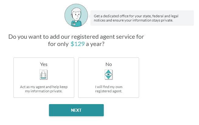 Screenshot of ZenBusiness registered agent service.
