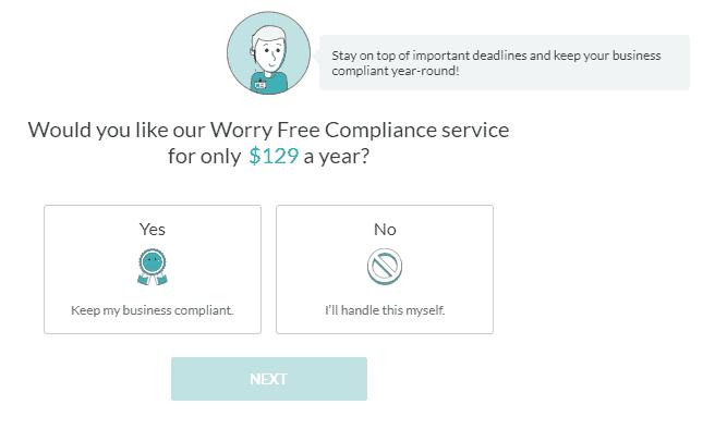 Screenshot of ZenBusiness compliance service.