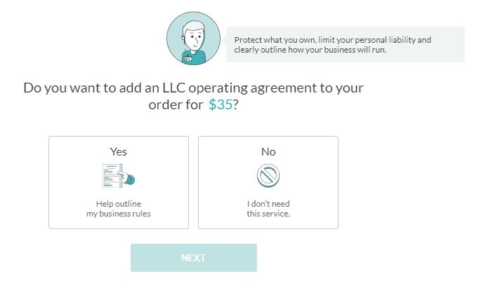 Screenshot of ZenBusiness LCC operating agreement.