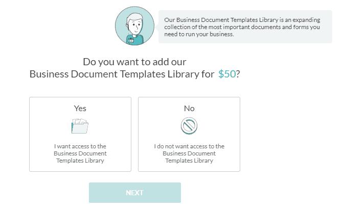 Screenshot of ZenBusiness business document templates library.
