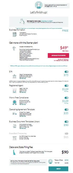 Screenshot of ZenBusiness verification form.