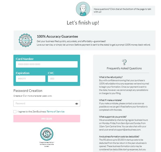 Screenshot of ZenBusiness debit or credit card details form.