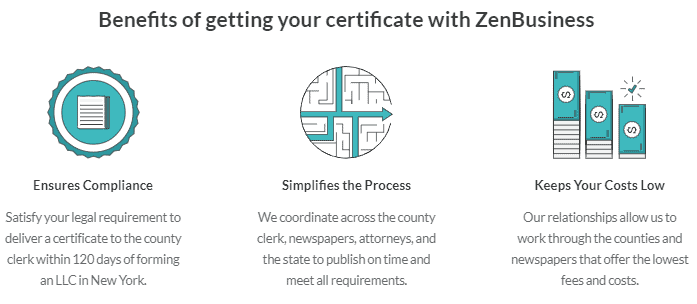 Screenshot of ZenBusiness certificate benefits.