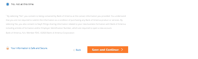 Consent for bank account with Bank of America.
