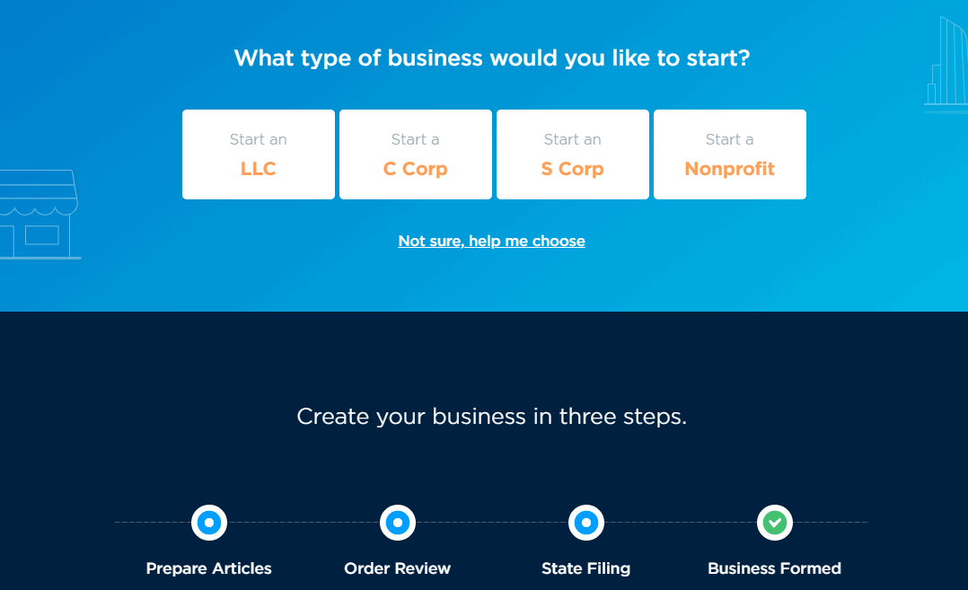 Selecting the business you want to start.