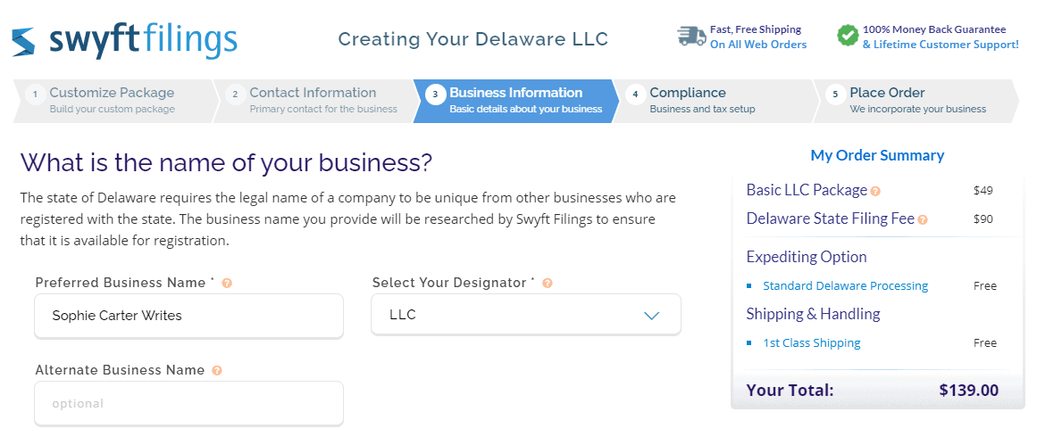 Business information.