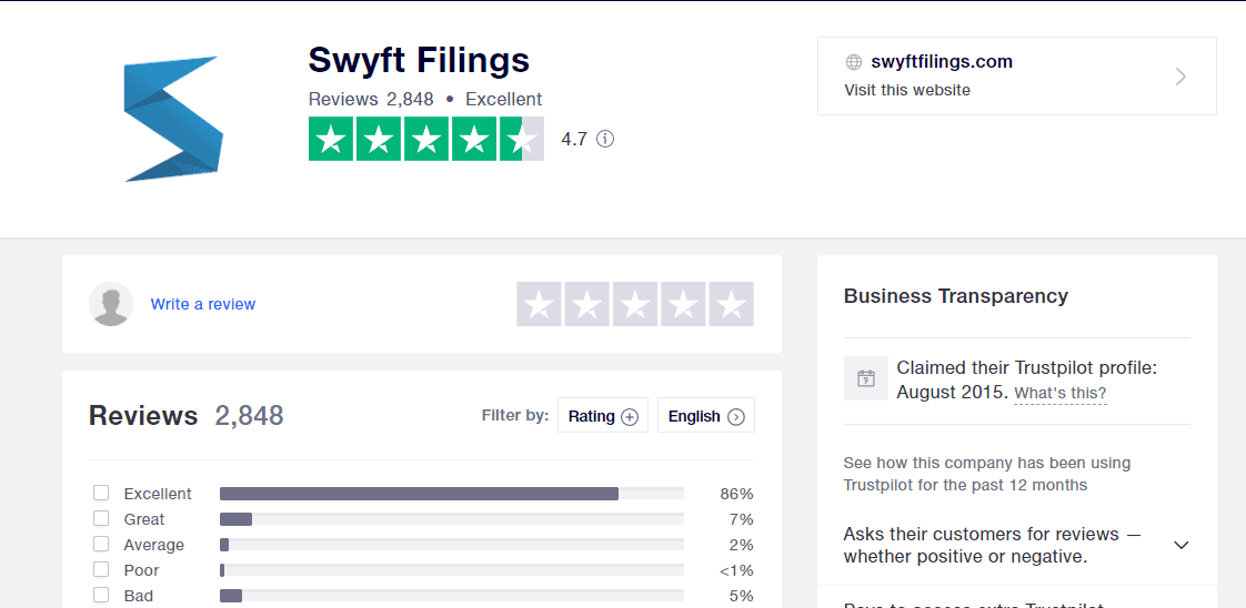 Swyft Filing review at TrustPilot.