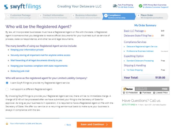 Registered agent service at Swyft Filing.