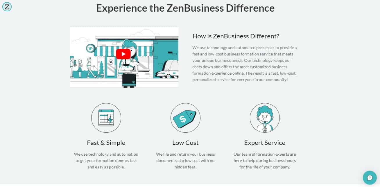 What separates ZenBusiness from the others