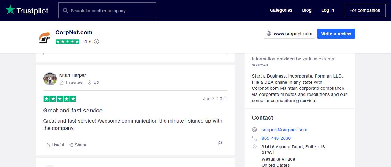 Corpnet on TrustPilot