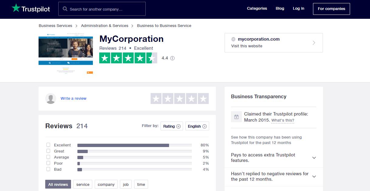 MyCorporation Rating on TrustPilot