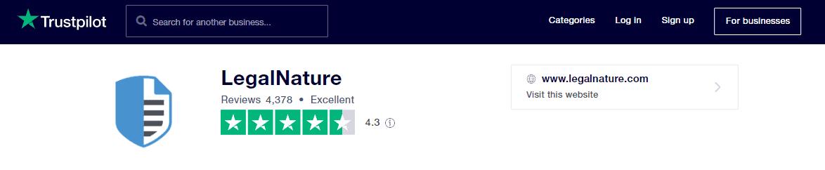 LegalNature Rating on TrustPilot
