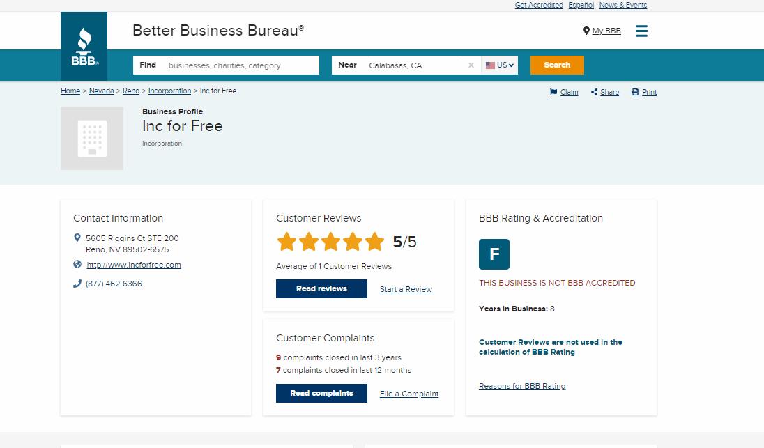 Better business bureau score