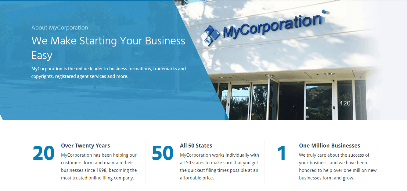 What MyCorporation says about themselves