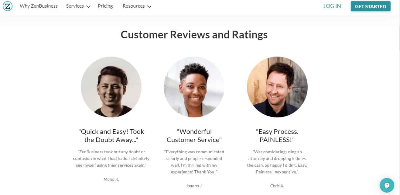 ZenBusiness Customer Reviews.