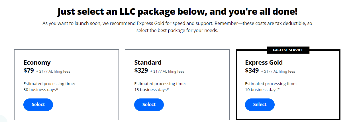 LegalZoom packages