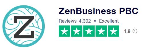 ZenBusiness Rating on TrustPilot