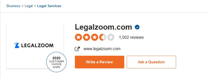 LegalZoom customer reviews.
