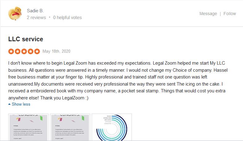 Happy LegalZoom customer