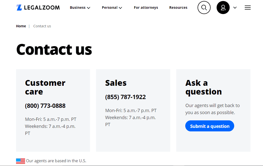 LEgal Zoom Contact Numbers