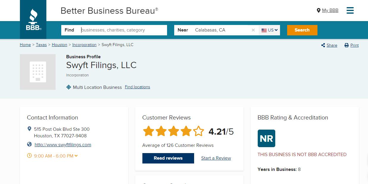 Swyft Filings BBB Review