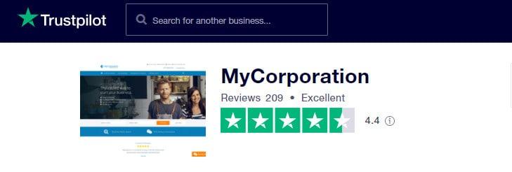 MyCorporation on TrustPilot.