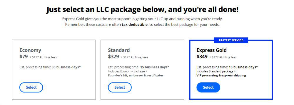 LegalZoom Packages.