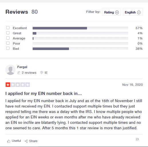 IncFile Customer Reviews on TrustPilot.