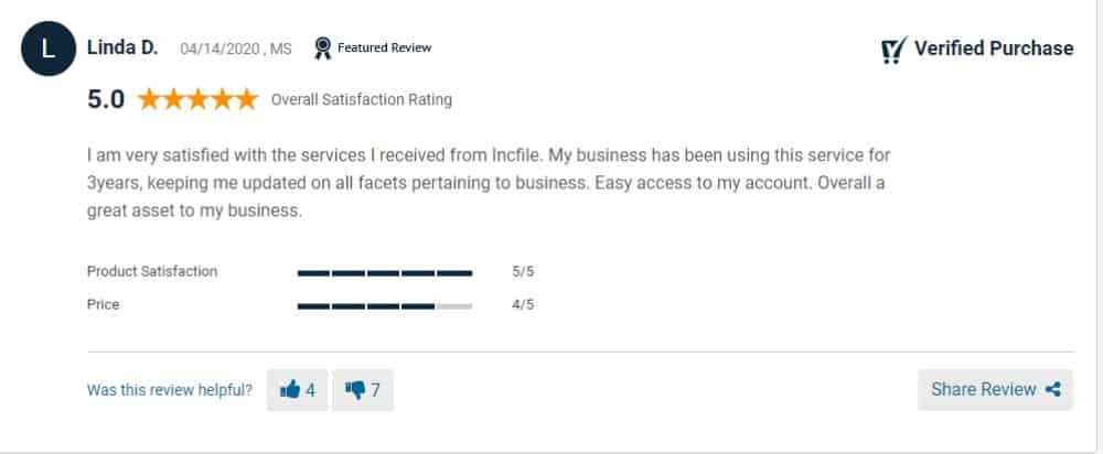 A satisfied IncFile customer.