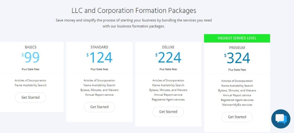 The four formation packages to choose from.