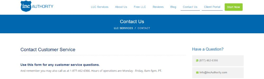 Inc Authority Contacts.