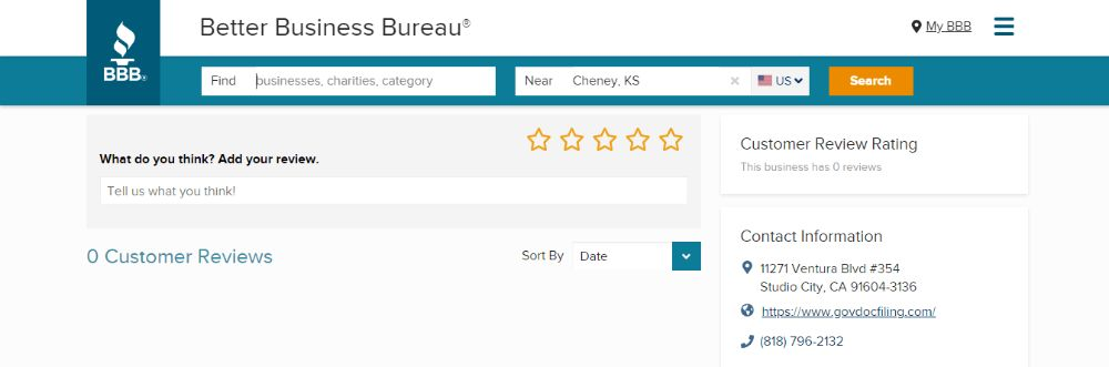 GovDocFiling Customer Review on BBB.