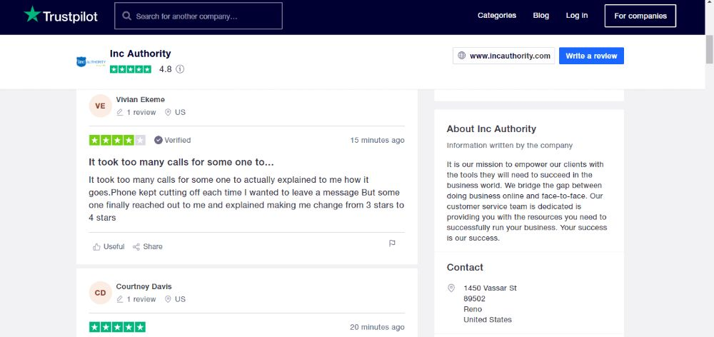 Inc Authority Customer Review on TrustPilot.