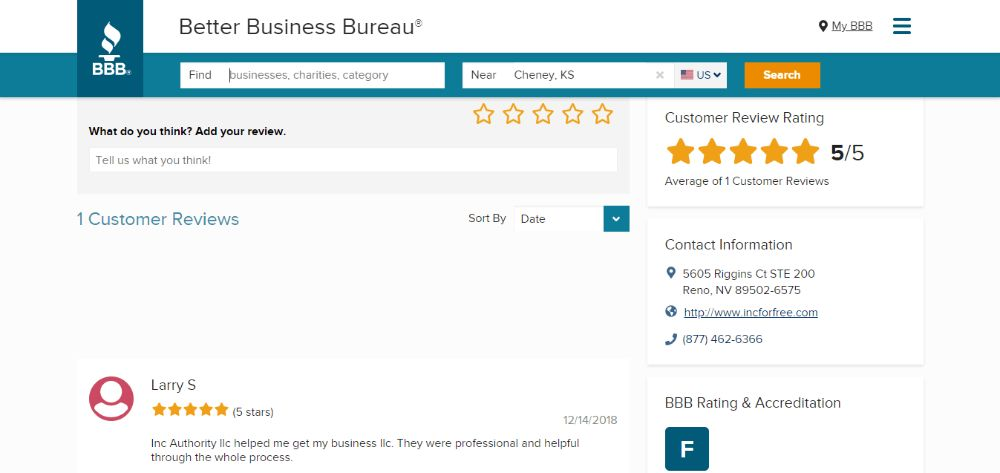 Inc Authority Customer Review on BBB.